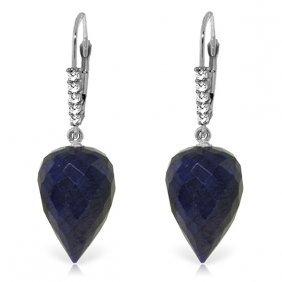 Genuine 25.95 Ctw Sapphire & Diamond Earrings Jewelry