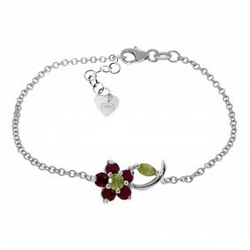 Genuine 0.87 Ctw Peridot & Ruby Bracelet Jewelry 14kt