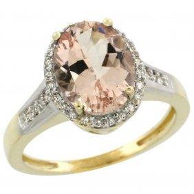 Natural 2.49 Ctw Morganite & Diamond Engagement Ring