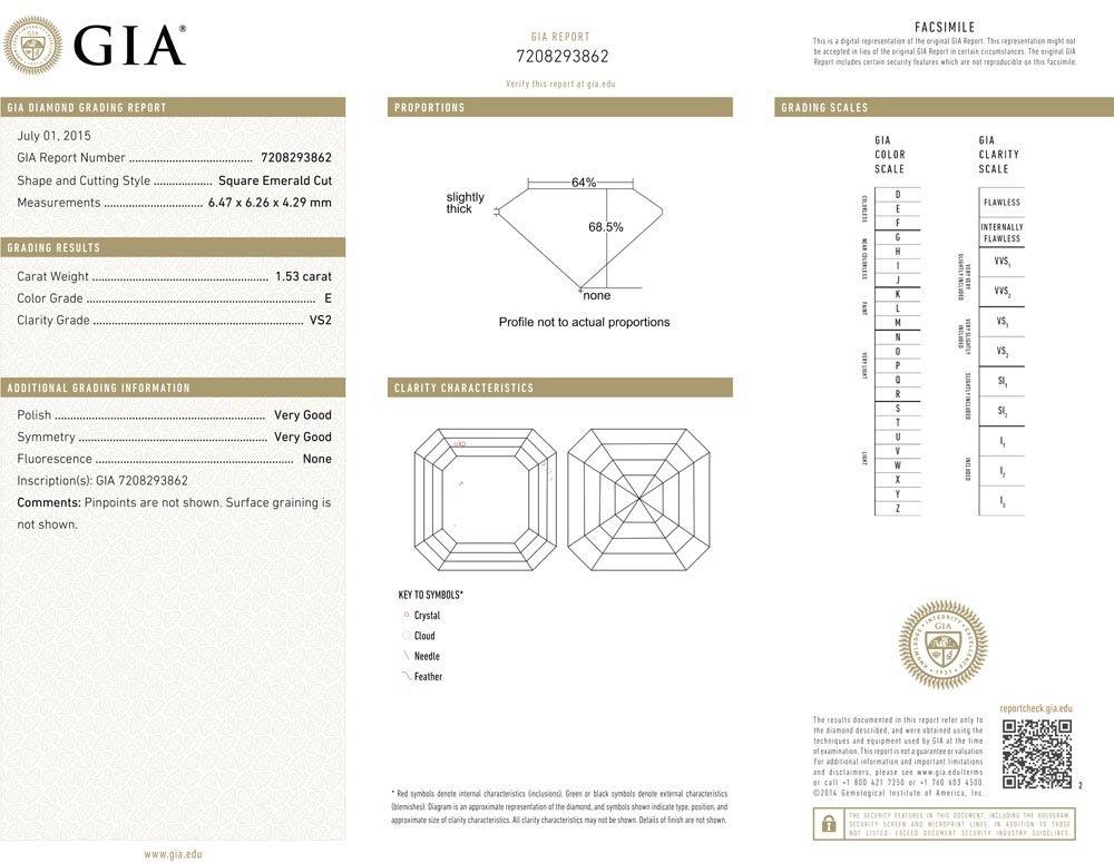 1.53ct E/VS2 Square Emerald cut GIA Certified Diamond