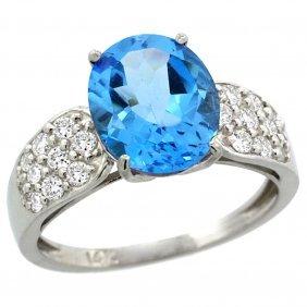 Natural 2.75 Ctw Swiss-blue-topaz & Diamond Engagement