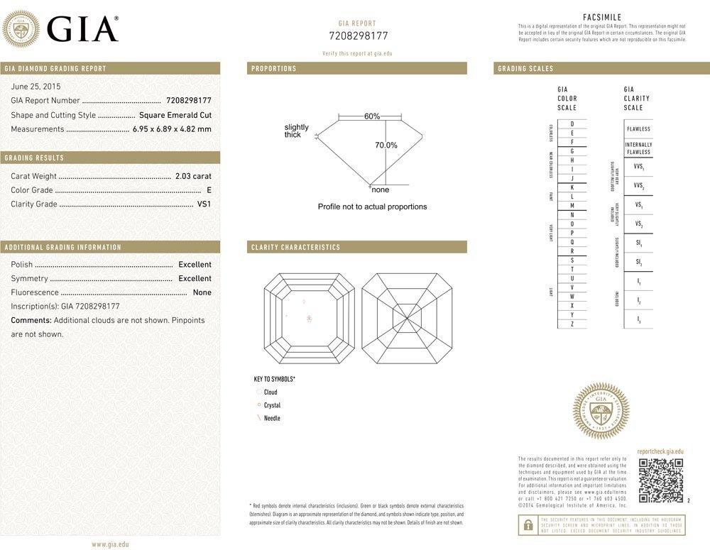 2.03ct E/VS1 Square Emerald cut GIA Certified Diamond