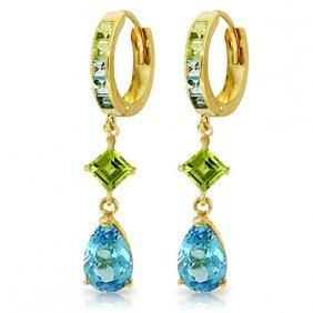 Genuine 5.37 Ctw Blue Topaz & Peridot Earrings Jewelry