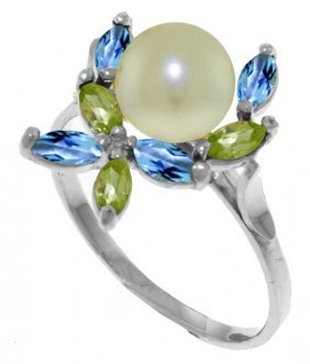 Genuine 2.63 Ctw Blue Topaz & Peridot Ring Jewelry 14kt