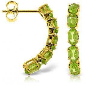 Genuine 2.5 Ctw Peridot Earrings Jewelry 14kt Yellow
