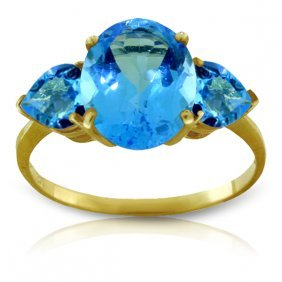 Genuine 4.2 Ctw Blue Topaz Ring Jewelry 14kt Yellow