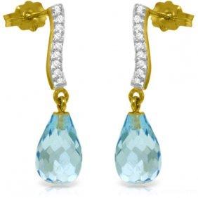 Genuine 4.78 Ctw Blue Topaz & Diamond Earrings Jewelry