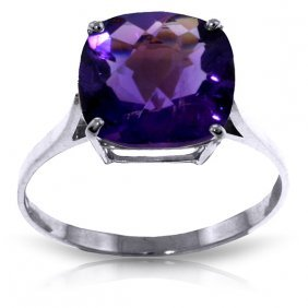 Genuine 3.6 Ctw Amethyst Ring Jewelry 14kt White Gold -