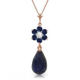 Genuine 3.83 Ctw Sapphire & Diamond Necklace Jewelry