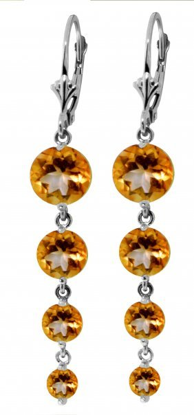 Genuine 7.8 Ctw Citrine Earrings Jewelry 14kt White
