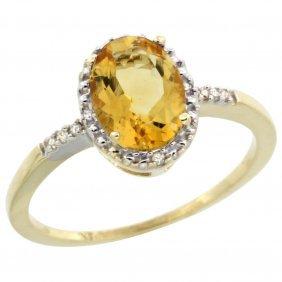 Natural 1.2 Ctw Citrine & Diamond Engagement Ring 14k