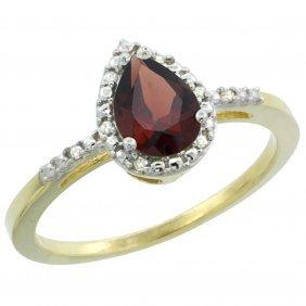 Natural 1.53 Ctw Garnet & Diamond Engagement Ring 10k