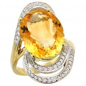 Natural 11.2 Ctw Citrine & Diamond Engagement Ring 14k
