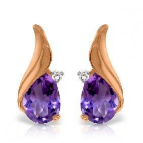 Genuine 3.16 Ctw Amethyst & Diamond Earrings Jewelry