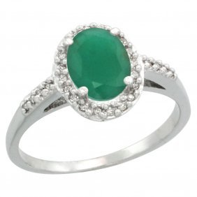 Natural 1.6 Ctw Emerald & Diamond Engagement Ring 10k