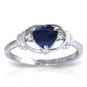 Genuine 1.01 Ctw Sapphire & Diamond Ring Jewelry 14kt