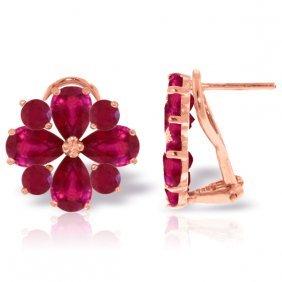 Genuine 4.85 Ctw Ruby Earrings Jewelry 14kt Rose Gold -