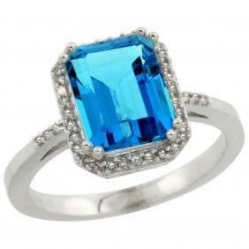 Natural 2.63 Ctw Swiss-blue-topaz & Diamond Engagement