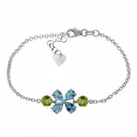 Genuine 3.15 Ctw Blue Topaz & Peridot Bracelet Jewelry