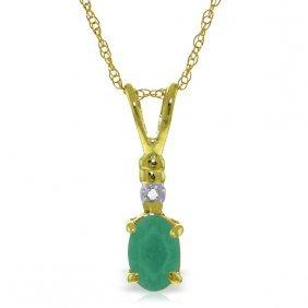 Genuine 0.51 Ctw Emerald & Diamond Necklace Jewelry