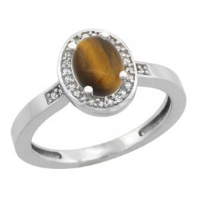 Natural 0.83 Ctw Tiger-eye & Diamond Engagement Ring