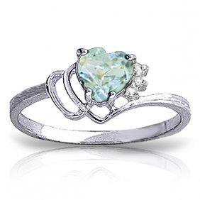 Genuine 0.97 Ctw Aquamarine & Diamond Ring Jewelry 14kt