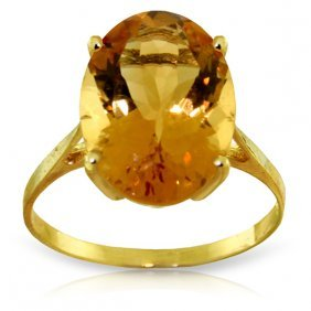 Genuine 6 Ctw Citrine Ring Jewelry 14kt Yellow Gold -