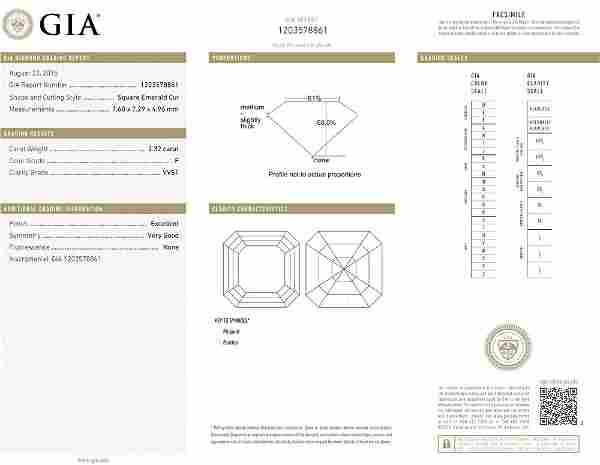 2.32ct F/VVS1 Square Emerald cut GIA Certified Diamond