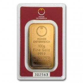 One Pc. 100 Gram .9999 Fine Gold Bar - Austrian Mint In