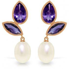 Genuine 16 Ctw Pearl & Amethyst Earrings Jewelry 14kt