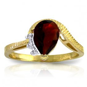 Genuine 1.52 Ctw Garnet & Diamond Ring Jewelry 14kt