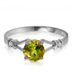 Genuine 0.87 Ctw Peridot & Diamond Ring Jewelry 14kt