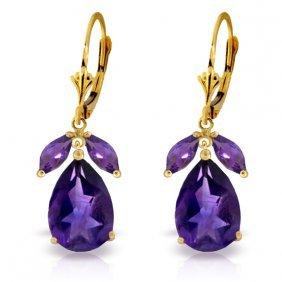 Genuine 13 Ctw Amethyst Earrings Jewelry 14kt Yellow
