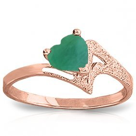 Genuine 1 Ctw Emerald Ring Jewelry 14kt Rose Gold -
