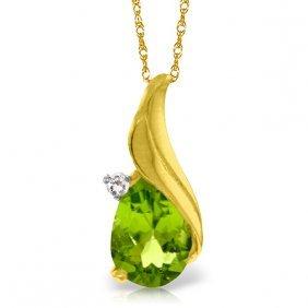 Genuine 2.03 Ctw Peridot & Diamond Necklace Jewelry