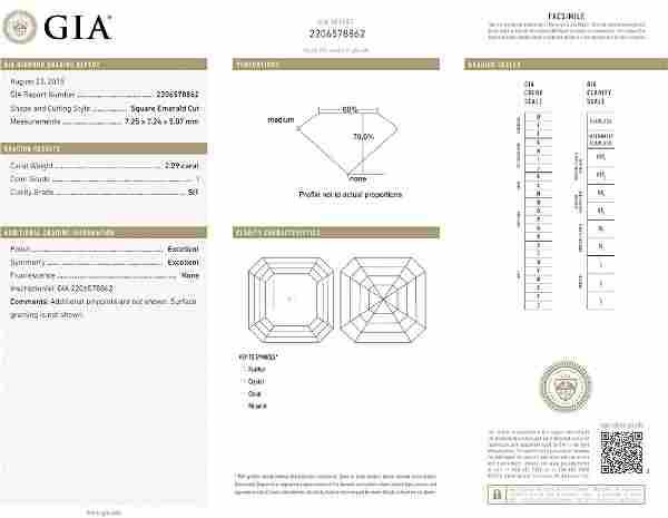 2.29ct I/SI1 Square Emerald cut GIA Certified Diamond