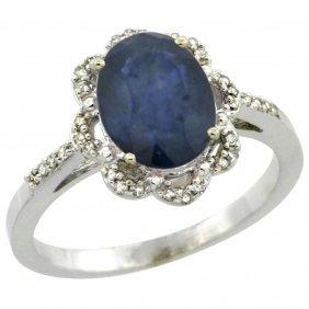 Natural 2.25 Ctw Blue-sapphire & Diamond Engagement