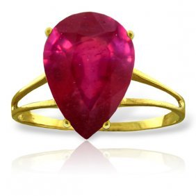 Genuine 5 Ctw Ruby Ring Jewelry 14kt Yellow Gold -
