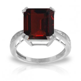 Genuine 7.52 Ctw Garnet & Diamond Ring Jewelry 14kt