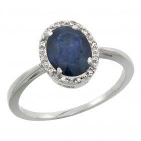 Natural 1.49 Ctw Blue-sapphire & Diamond Engagement