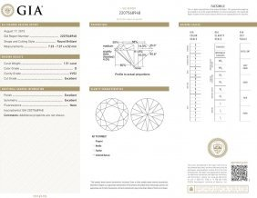 1.51ct D/vvs2 Brilliant Round Cut Gia Certified Diamond