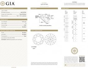 1.55ct D/vvs2 Brilliant Round Cut Gia Certified Diamond