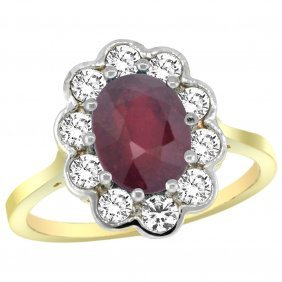 Natural 2.73 Ctw Ruby & Diamond Engagement Ring 14k