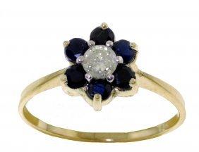 Genuine 0.50 Ctw Sapphire & Diamond Ring Jewelry 14kt