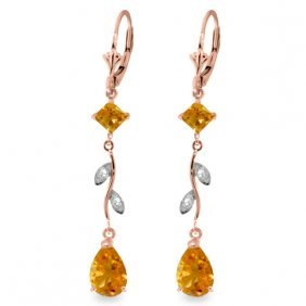 Genuine 3.97 Ctw Citrine & Diamond Earrings Jewelry