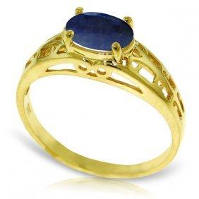 Genuine 1.15 Ctw Sapphire Ring Jewelry 14kt Yellow Gold