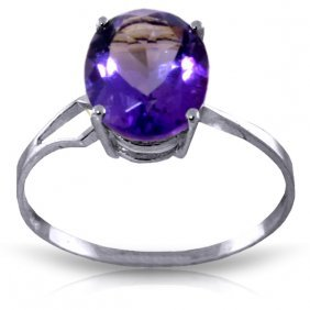 Genuine 2.2 Ctw Amethyst Ring Jewelry 14kt White Gold -
