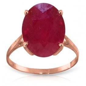 Genuine 7.5 Ctw Ruby Ring Jewelry 14kt Rose Gold -