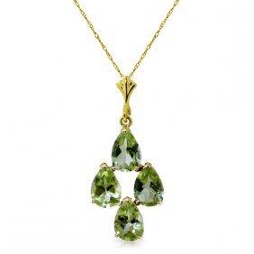 Genuine 2.25 Ctw Peridot Necklace Jewelry 14kt Yellow