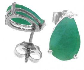 Genuine 2 Ctw Emerald Earrings Jewelry 14kt White Gold